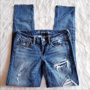 AEO Jeans Patchwork Distressed Skinny Low Rise 2R